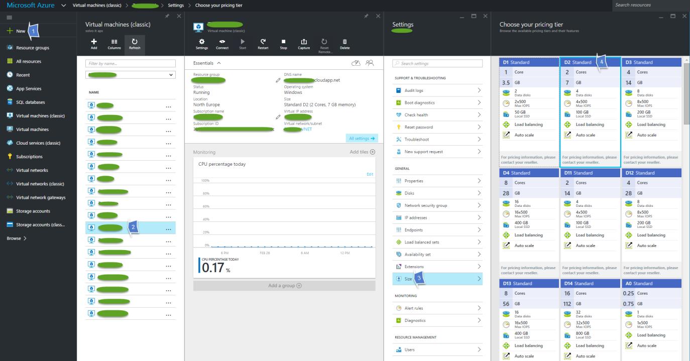 Resize Azure VM New Portal
