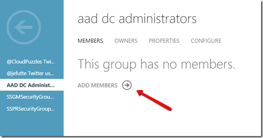 Azure AD Domain Services - Admin Group Members
